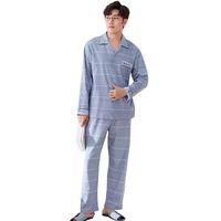 Pigiama da uomo Primavera Autunno Pijama Maniche lunghe Pigiameria Cotone  Cardigan a righe Pigiama Uomo Salotto a6c1d7f5d