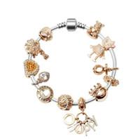 Nuovi 925 diamanti in oro rosa Bracciale Donna Adatto trasporto di giorno dono gratuito di europeo Pandor monili di fascino Bracciali San Valentino