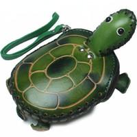Gerçek Deri El Yapımı 3D Kaplumbağa Madeni Para Çanta Mini Wristlet Kayış Zip Kapanış Debriyaj Çanta Karikatür Hayvan Anahtarlık Kart sahibi Kid Hediye Cüzdan