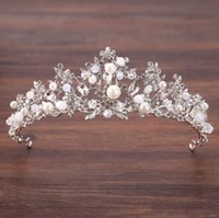 Silver crystal beads crown crown princess hair bride wedding...