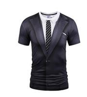 Toptan-Mr.1991INC Yaz O Yaka T-shirt Moda Sahte İki adet Suit Stil 3D Baskı Tees Erkekler Kısa Kollu komik T Shirts