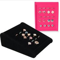 Eearrings anillos de soporte de exhibición del terciopelo de rack completo joyería Mostrando soporte de almacenamiento diferentes colores muestran estante al por mayor libre del envío 0731WH