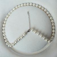 blanc naturel 8 mm nouée à la main / bleu / vert / jaune / gris / rose / marron / couleur collier de perles shell 45cm 2pc / lot de bijoux de mode
