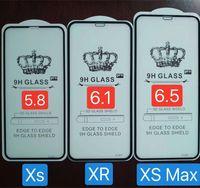 Full Glue Glass Per iPhone XS XR XS MAX Curvo Full Cover Vetro Temperato Protezione dello schermo del telefono vetro curvo aggiornamento senza confezione