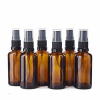 6pcs 50ml bottiglia di vetro di spruzzo ambrato w / fine nebbia spruzzatore di viaggio riutilizzabile aromaterapia profumo atomizzatore contenitore cosmetico vuoto