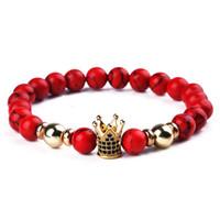 Red Beads Bransoletka Handmade Koraliki Bransoletki Złoto Cyrkon Korona Dla Kobiet Pulseira Mężczyźni Biżuteria Bileklik Elastyczna Braclet Opaska