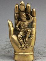 """6 """"الشعبية الصينية البوذية البرونزية صن وو كونغ القرد الملك تمثال في بوذا فو اليد"""
