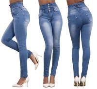 Outono Sexy Skinny Jeans Mulheres Stretch de Cintura Alta Slim Fit Calças Jeans Denim Jeans Skinny Retas Preto Azul Claro S-2XL