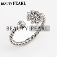 5 Pieces Twisted Band with Flower Ring Settings 925 Sterling...