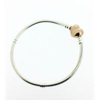Gül Koleksiyonu Kalp Toka Bilezik S925 Ayar Gümüş Stil Charms H8 580719 için Uyar