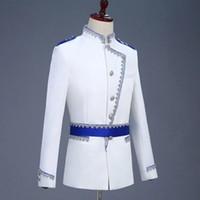 Freeship mens white blue bind 일반 프린스 코스프레 meadieval 빈티지 자켓 / 바 / 클럽 / 스튜디오 / 스테이지 퍼포먼스 재킷