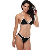 Les femmes sexy taille basse bikini licou ensemble bikini brésilien solide maillot de bain costume vêtements de plage