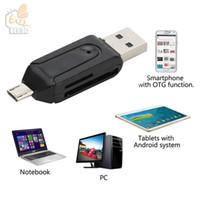 SD + 마이크로 SD USB OTG 카드 리더 유니버설 마이크로 USB OTG TF / SD 카드 리더 마이크로 USB OTG 어댑터 안 드 로이드 휴대 전화 300 pc / lot