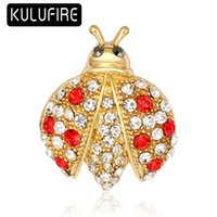 KULUFIRE Cute Ladybug Carton Brooch Pin Red Rhinestone Brooc...