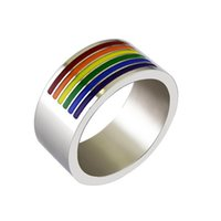 Band New 10mm Titanium steel Mens Ring Fashion Biker Rainbow...