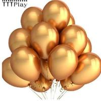 Palloncini d'oro 10 pz / lotto 12 Pollice Spessore 2.8g Palloncini di Elio In Lattice Decorazione di Cerimonia Nuziale Gonfiabili Sfere D'aria Festa di Compleanno Forniture