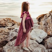 2018 INS 2 colour hot sell Europe and America style girl Costura irregular vestido de smoking menina princesa moda verão vestido de cauda de pombas