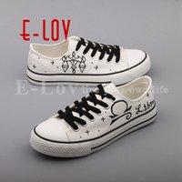 22393f134e3 E-LOV Fashion Design Libra Constellation Canvas Shoes Women Customized Hand  Painted Libra Sign Casual Flats Shoes For Lovers