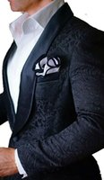 Latest Design One Button Black Paisley Shawl Lapel Wedding G...