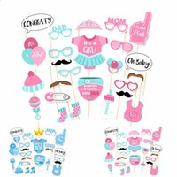 25pcs Baby Shower Favors Photo Booth Props C'est un garçon fille Fun PhtotoBooth 1er anniversaire Party Décoration Bleu Rose