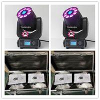 4 stycken med flugacase 9x12W RGBWA + UV 6In1 LED-strålpunkt Tvättmängdshuvud 75W LED-rörliga huvudspotmönsterljus