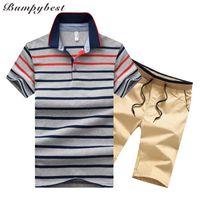 Bumpybeast Two Piece Set Men's Sportswear Traje de rayas Trajes de los hombres Trajes de sudor de verano Hombre Manga corta Camiseta Conjuntos M-4XL