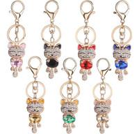7 stili sorriso gatto portachiavi chiave di cristallo fob strass portachiavi gattino pendente di fascino portachiavi borsa portachiavi auto gioielli