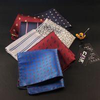 10 pçs / lote 18 color Men 's Business Suit Bolso Quadrados Impresso Listrado Lenço 1200 Pin Tecido de Poliéster Hankies