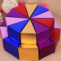 100 Unids Caja de Dulces Bolsa de Caja de Regalo de Papel de Chocolate Pastel en forma para el cumpleaños Decoración Del Banquete de Boda Craft DIY