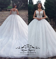 Luxury Crystals Ball Gown Arabic Wedding Dresses 2020 Vintag...