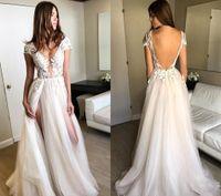 Neue Ankunfts-böhmische Brautkleider A-Linie Appliqued Tulle Lange Boho Strand-Land-Garten-Braut-Brautkleid nach Maß Plus Size
