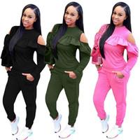 Moda para mujer Chándales Color sólido Otoño 2pcs Conjunto de ropa Primavera Tops Pantalones Trajes