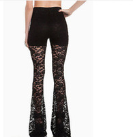 Dentelle Femmes Sexy Noir Mesdames See-through Mesh Bell Pantalon Long Pantalon Pantalon