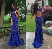 Royal Blue Lace Evening Gowns Sparkly Crystals Open Back Sle...