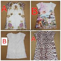 Летние девушки цветочные печать леопардовые платья детские девушки хлопчатобумажные чертвые платья свадебные платья дизайн детские принцессы платье 2-6 лет свободный корабль