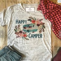 T-shirt donna manica corta Happy campers bus stampa floreale O-Collo T-shirt donna estate casual grigio Ladies Top Tee T Shirt