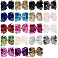 Mädchen 8 Inch Stickerei Pailletten Bögen mit Alligator Clips Kinder Shinny Regenbogen Haarspange Haarnadeln Barrettes Schöner Huilin C161