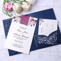 New Style 3 Folds Wedding Navy Blue Invitations Cards With B...