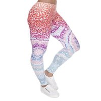 Plus Size Women Leggings Aztec Round Ombre Printing Stretch ...