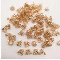 50st smycken tillbehör pärlor kepsar medium vin kopp silver / guld / tråkig silverplätering