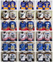 Винтаж Сент-Луис блюз хоккейные трикотажные изделия мужские дешевые дома 2 AL MACINNIS 16 BRETT HULL 99 Уэйн Гретцкий сшитые хоккеиные рубашки C патч