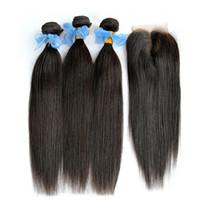 Brésilienne Vierge Cheveux Weaves Bundles et Top Lace Closure Non Transformés 8A Brazillian Droite Remy Extensions de Cheveux Humains Avec Fermetures 4 Pcs