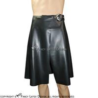 Schwarze sexy Latex Kilt Röcke mit Gürtel Kurzgummi Rock Bottoms Uniform 0008