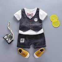 summer boys clothing sets 2018 new fashion plaid clothes sui...