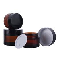 20g 30g 50g Âmbar Jarra De Vidro Pote cosmético creme para os olhos jar Cosméticos Garrafa Recipiente Ferramenta de Maquiagem Com Tampa Preta