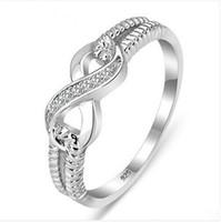 Atacado-Genuine 925 Sterling Silver Jewelry Designer de marca anéis para mulheres Lady casamento Infinito 3,5 tamanho do anel KKA1957