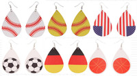 foorball titanium sports PU Leather Earrings Vintage Basebal...
