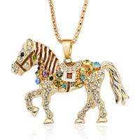 Pferd Halskette Multicolor Kristall Strass lange Kette Halsketten Anhänger für Frauen Geschenk