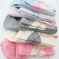20 개 = 10 쌍 새로운 디자인 여성 양말 고품질 겨울 마름모 디자인 미디어 코타 양말 도매