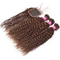 Kinky Curly Hair Weaves Brown Extension de cheveux humains 3Bundles Hair Weaves Avec Brown Lace Closure Peruvian Virgin Extension Afro Kinky Bouclés